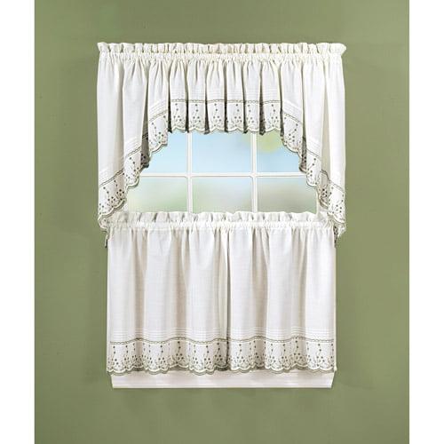 Walmart Kitchen Curtains: Abby Kitchen Tier Curtains, Swag Pair Or Valance, Sage