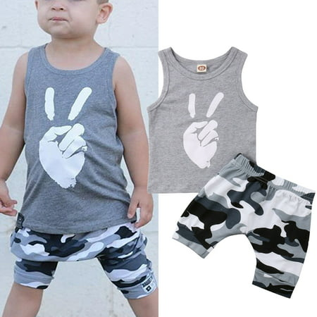 Fashion Toddler Kids Baby Boys Tops Summer Tops T-shirt Camo Short Pants 2Pcs Outfits Set Clothes for $<!---->