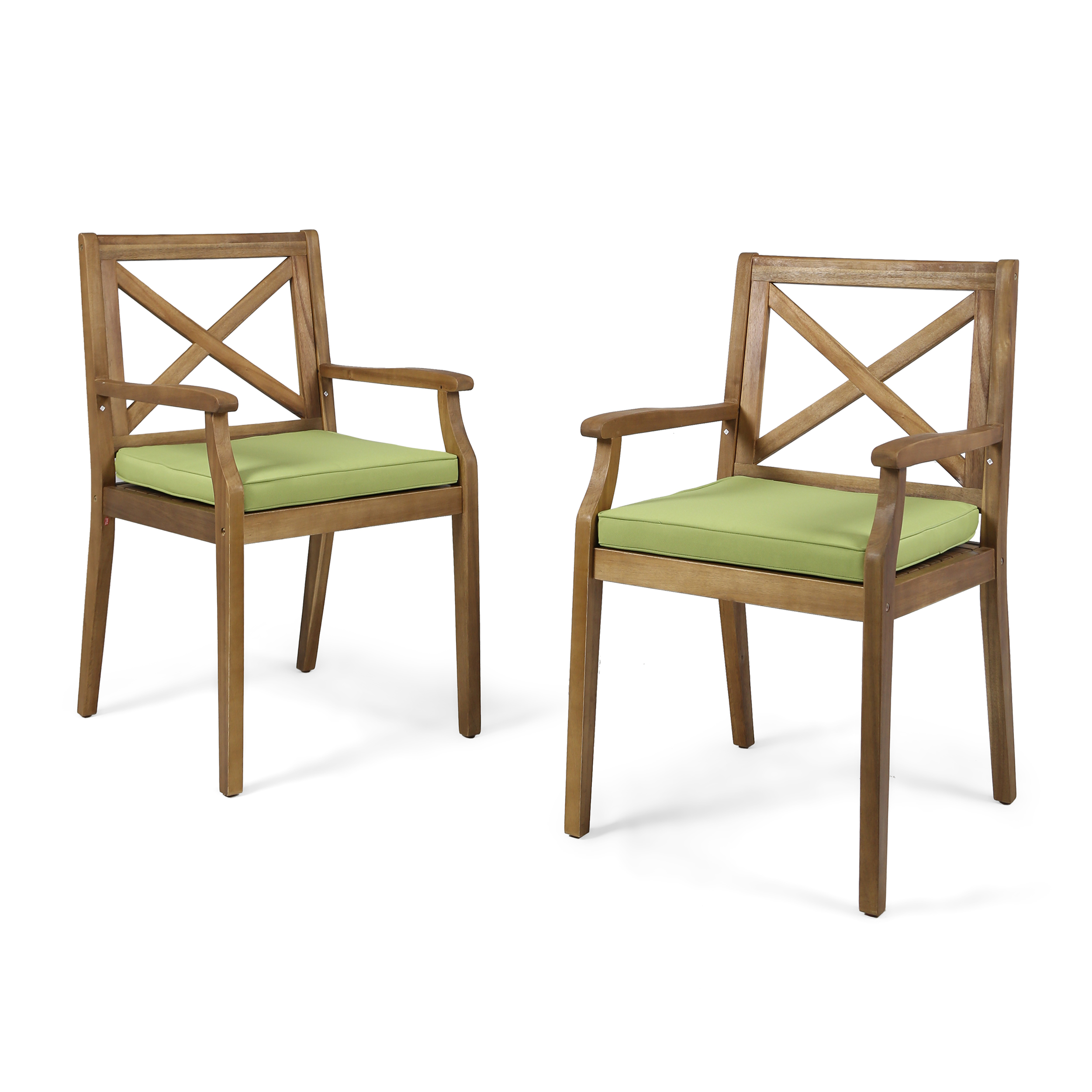 Peter Outdoor Acacia Wood Dining Chair, Set of 2, Teak with Green Cushions