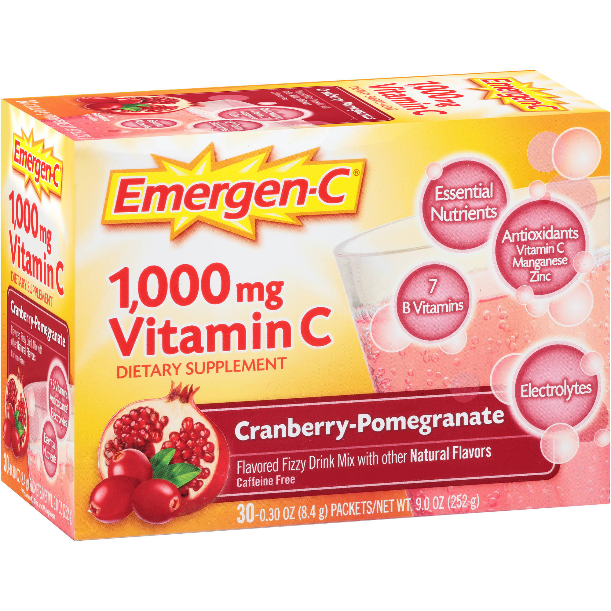 Emergen-C Dietary Supplement in Cranberry-Pomegranate Flavor 30 Count