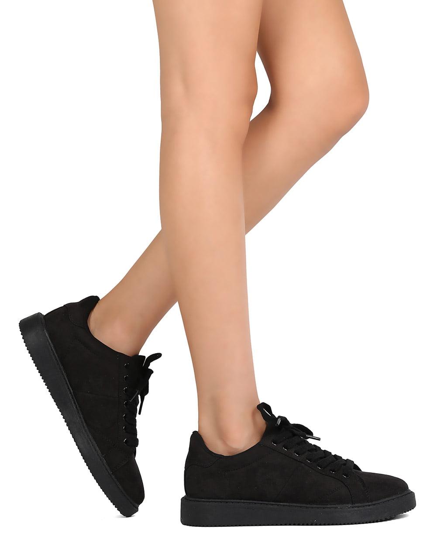 f83a7e0bcfd7e Qupid - Qupid FE91 Women Faux Suede Almond Toe Lace Up Sneaker - Walmart.com
