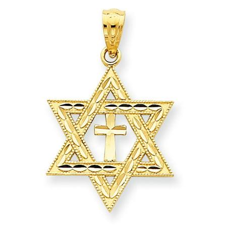 14k Yellow Gold D/C Star of David w/Cross Pendant