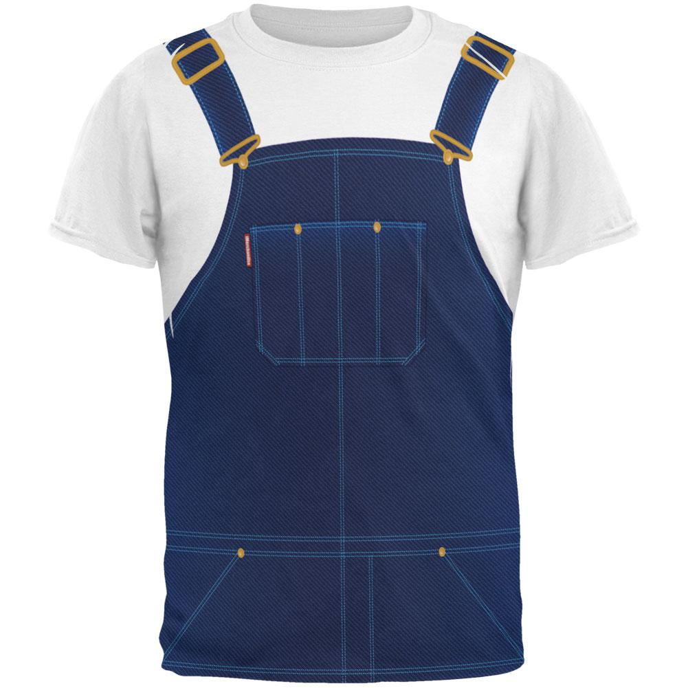 Halloween Overalls White T-Shirt Costume All Over Adult T-Shirt