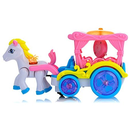 Toysery Walking Horse And Carriage Toy with Real Horse Sounds and Lights for Kids Boys and Girls