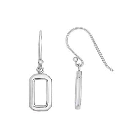 Sterling Silver Open Rectangle Dangle Earrings (Open Rectangle Earrings)