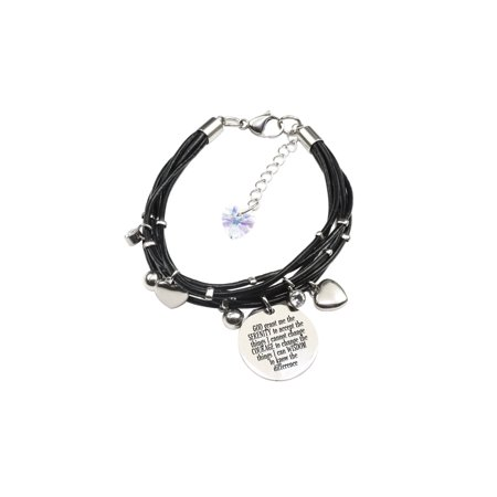 Genuine Leather Bracelet made with Crystals from Swarovski - Serenity Prayer