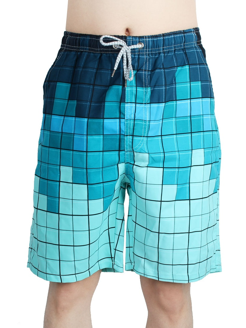 Men Plaid Pattern Summer Half Pants Surfing Board Shorts Swim Trunks M (W 27)