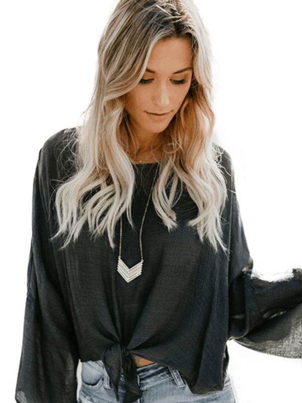 Women Kimono Long Sleeve Belly Blouse Tops Front Tie Casual OL Cropped T-Shirts