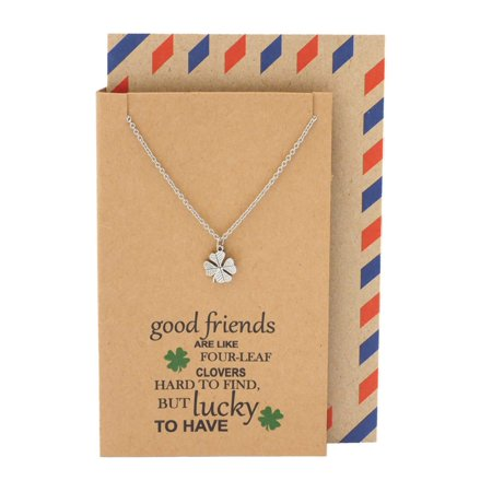 Quan Jewelry Four Leaf Clover Friendship Necklace with Best Quotes on Thank You Card, Gifts for Women ()