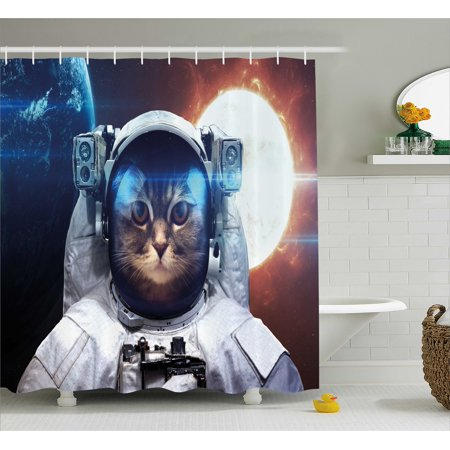 Space Cat Shower Curtain House In Galaxy Outer With World And Sun Backdrop