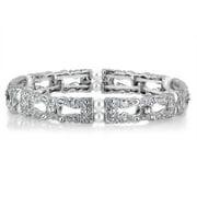 Silvertone Faux Pearl Cubic Zirconia Stretch Vintage Bracelet