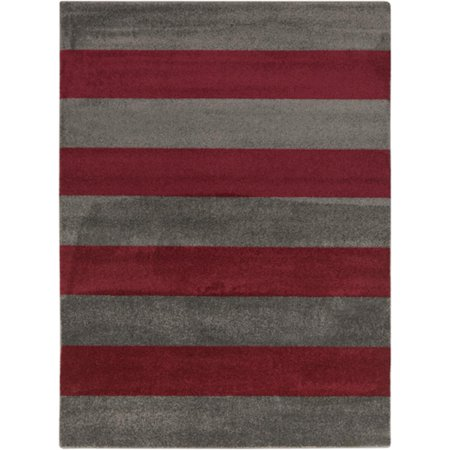 x 12 5 39 bold stripes ruby red and gray decorative area throw rug. Black Bedroom Furniture Sets. Home Design Ideas