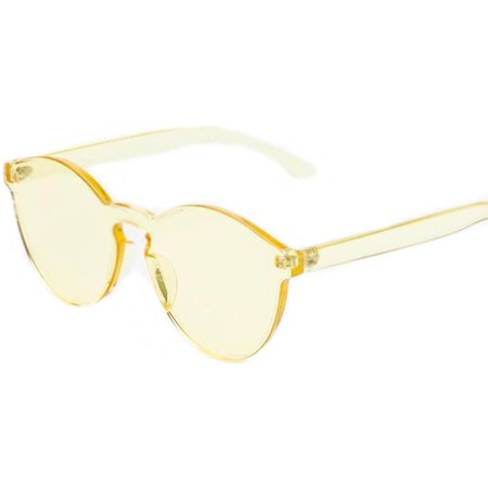 Colorful Transparent Round Retro Women's Fashion Designer Sunglasses Plastic Frame Yellow Lens OWL - Make Your Own Sunglasses