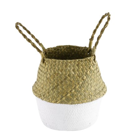 Foldable Seagrass Woven Storage Pot Handmade Flower Hanging Basket With Handle - image 1 of 8