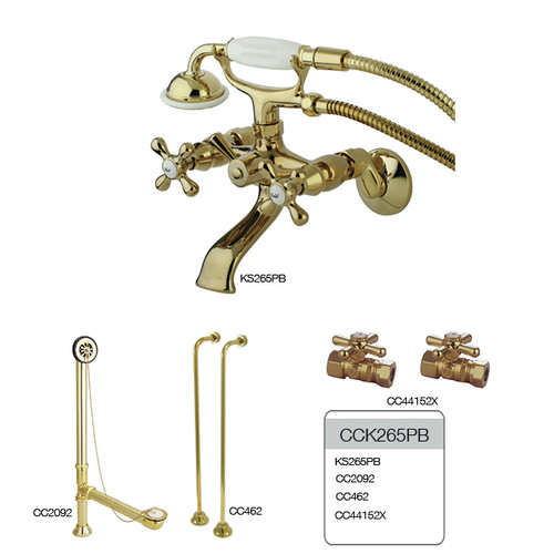 Kingston Brass Vintage Double Handle Wall Mount Clawfoot Tub Faucet with Hand Shower