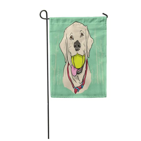 KDAGR Dog Yellow Lab Labrador Ball Cute Face Forest Teeth Garden Flag Decorative Flag House Banner 28x40 inch