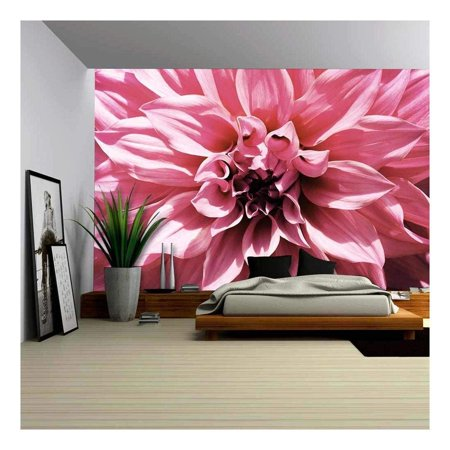 wall26 - Close-Up Floral Pink Dahlia Flower Vintage Soft Color Style - Removable Wall Mural | Self-Adhesive Large Wallpaper - 66x96 inches ()