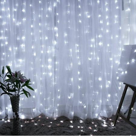 TORCHSTAR 9.8ft x 9.8ft LED Curtain Lights, Starry Christmas String Light, Indoor Decoration for Festival Wedding Party Living Room Bedroom, - Indoor Xmas Lights
