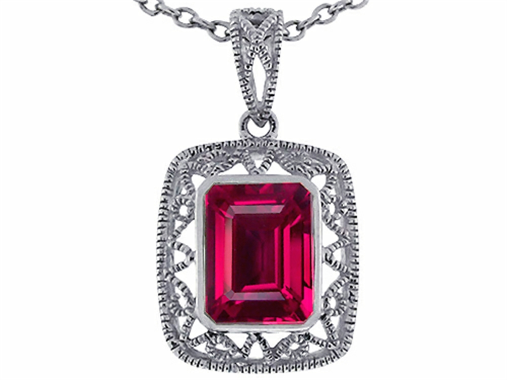 Star K Emerald Cut Created Ruby Pendant Necklace in 14 kt White Gold by