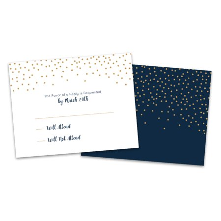 Personalized Navy Twinkle Wedding RSVP - Rsvp Style For Halloween Party