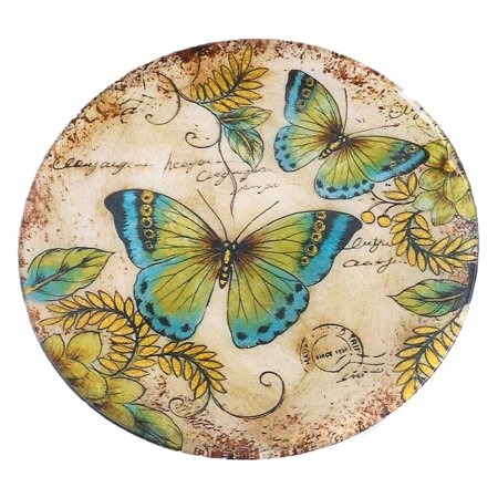 Border Concepts Round Great Blue Butterfly Glass Plate