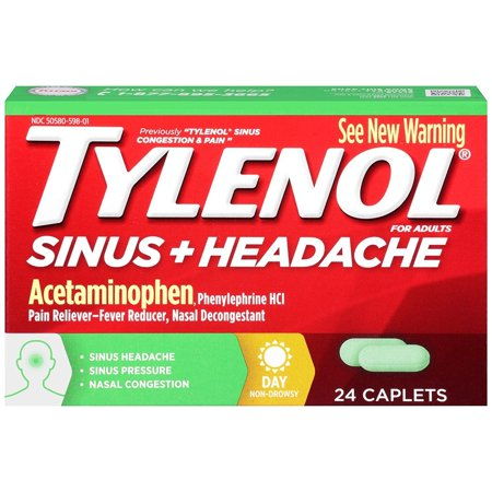 Tylenol Sinus Congestion And Pain Caplets, Daytime, 24 Count (Tylenol Sinus Daytime)