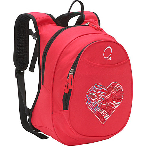 Obersee O3 Kids Pre-School Flag Heart Backpack with Integrated Lunch Cooler