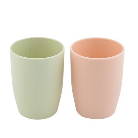 Plastic Cylinder Toothbrush Holder Gargle Water Cup Green Coral Pink 380ml