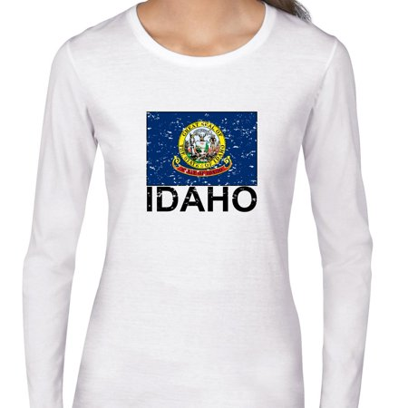 Idaho State Flag   Special Vintage Edition Womens Long Sleeve T Shirt