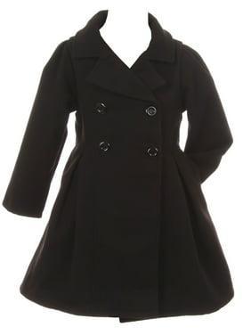Little Girls Cozy Long Sleeve Collar Button Flower Girl Coat Jacket Cover Outerwear Black 2 (J20K49S)