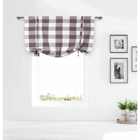 - Gray/Taupe and White Tie-up Window Curtain Shade Large Buffalo Check 100% Cotton 42 in Wide X 63 in Long