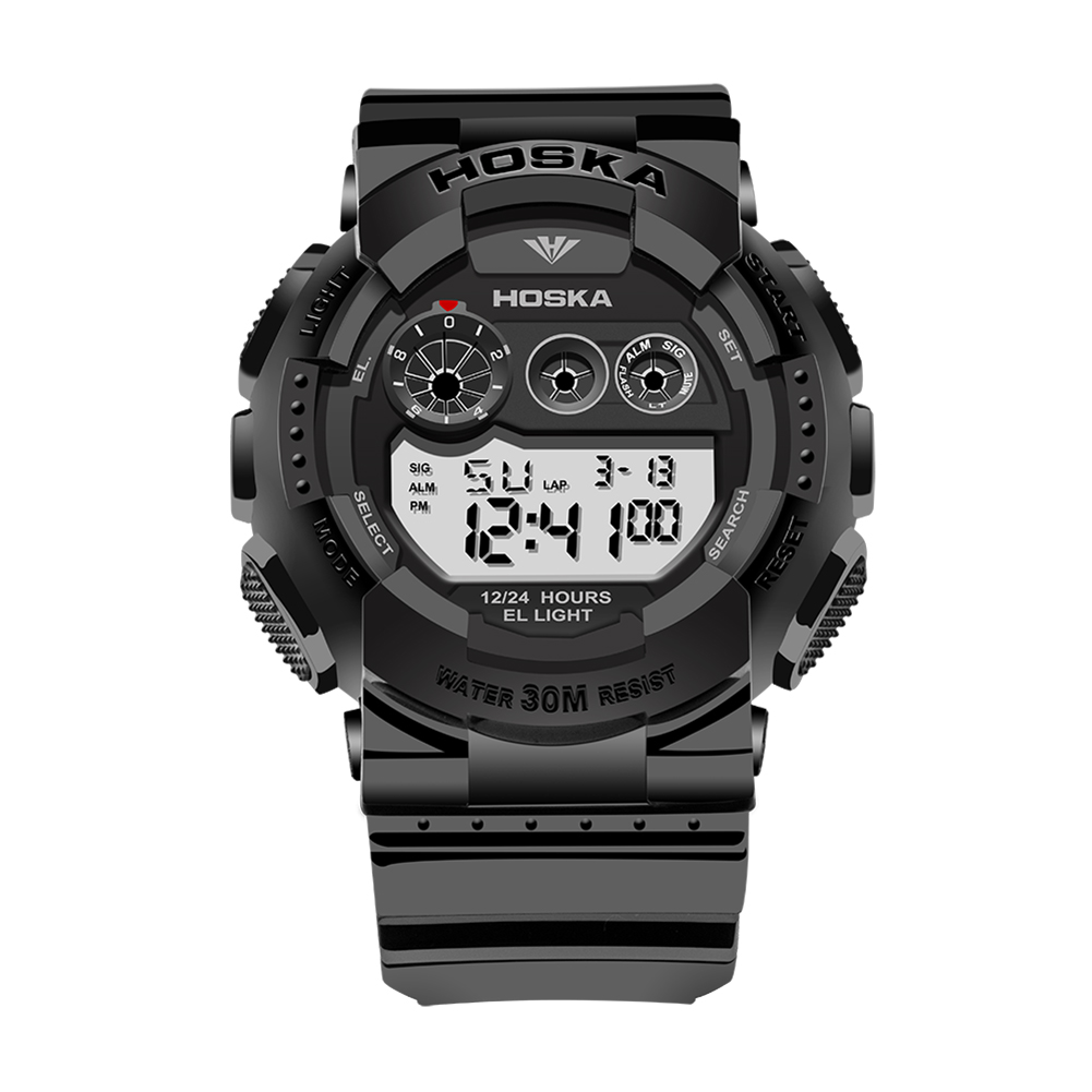 Men Fashion Waterproof Alarm Electronic Digital Display Wrist Black Plastic Watchband Swimming Sports Watch by