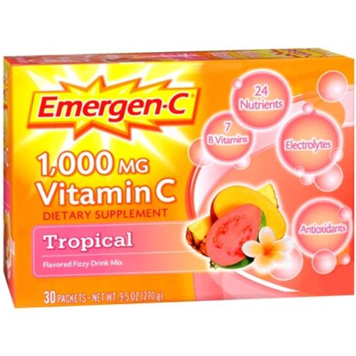 Emergen-C Vitamin C Drink Mix Packets Tropical 30 each (Pack of 4) by