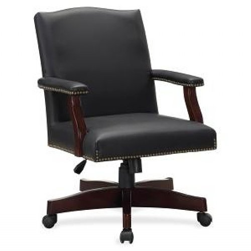 """Lorell Traditional Executive Bonded Leather Chair - Bonded Leather Black Seat - Bonded Leather Black Back - Frame - 27.3"""" X 32.5"""" X 42.8"""" Overall Dimension (LLR68250)"""