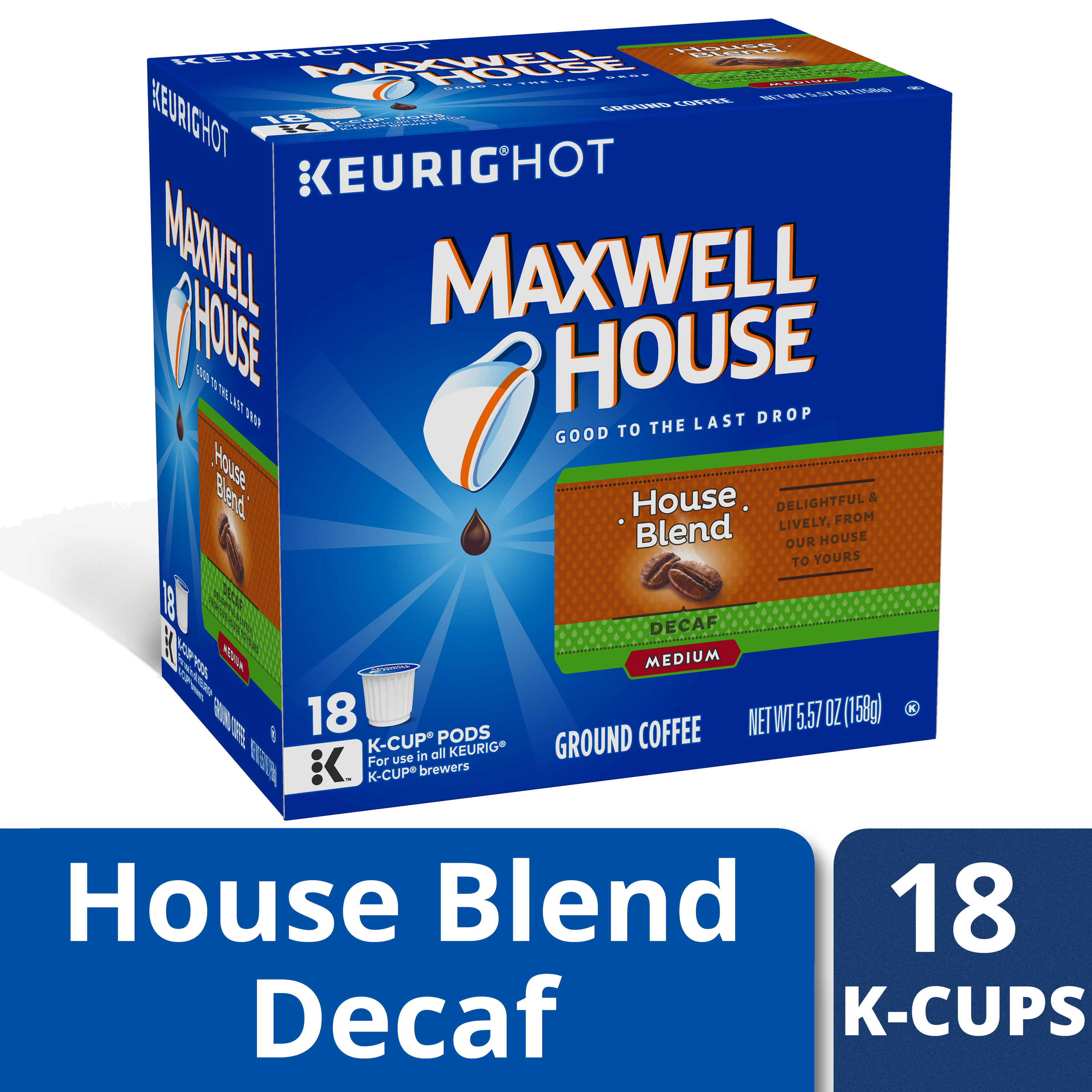 Maxwell House Decaf House Blend Coffee K-Cup Packs 18 ct Box