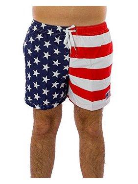 Men's Patriotic American USA Flag Stripes Stars Quick Dry Swim Trunks Shorts