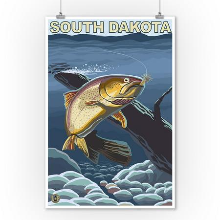 Cutthroat Trout Fishing - South Dakota - LP Original Poster (9x12 Art Print, Wall Decor Travel (South Dakota Fishing Maps)