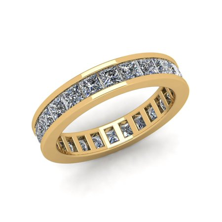 Natural 2.70Ct Princess Cut Diamond Classic Channel Set Women's Anniversary Wedding Eternity Band Ring Solid 10k Yellow Gold G-H