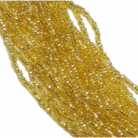 Straw Gold Silver Lined Preciosa Czech Glass 6/0, Loose Seed Beads, on Loose Strung 6 String Hank