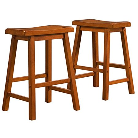 ModHaus Living Set of 2 Honey Oak Country Style Saddle Back Solid Wood Bar Stool - Counter Height Includes (TM) Pen