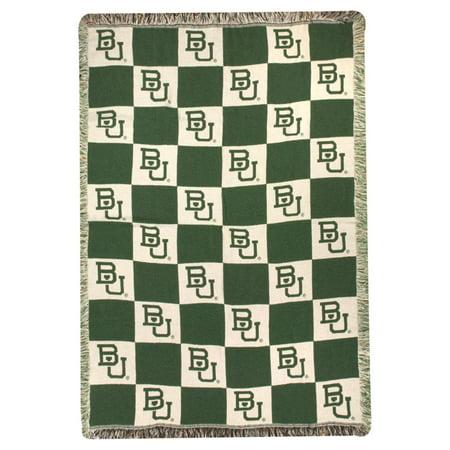 40 X 40 Baylor University Bears NCAA Checkered Logo TwoLayer Classy Baylor Throw Blanket