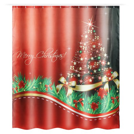 Kadell 9 Patterns Waterproof Christmas Shower Curtain Set with Hooks Bathroom Accessories For Home Christmas Decor Theme Hotel Decor Quick Dry 71x 65
