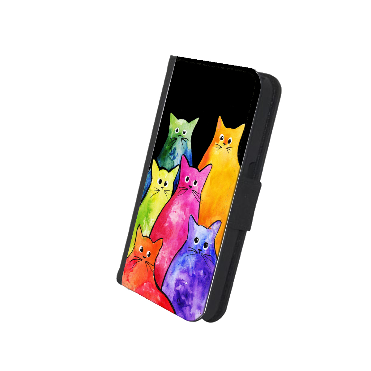 KuzmarK Samsung Galaxy S5 Wallet Case - Colorful Tie-Dyed Kitties Art by Denise Every