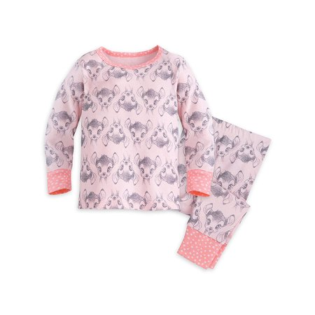 Disney Store Baby Girls Bambi Long Sleeve PJ PALS Pajama Set, Light Pink