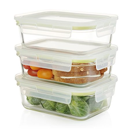Glass Food Storage Containers With Locking Lids Gorgeous Komax Oven Safe Rectangular Glass Food Storage Containers