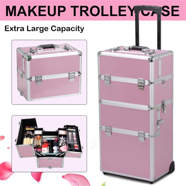 Yaheetech 2-wheel 3-in-1 Professional Multifunction Artist Rolling Trolley Makeup Beauty Train Case Cosmetic Organizer W/shoulder Straps (Pink)
