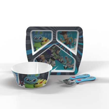 Toy Story 4 Buzz, Woody & Friends Kids Dinnerware Set , 3-piece set (Dog Childrens Dinnerware)
