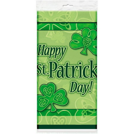 Plastic Saint Patrick's Day Clover Table Cover, 84