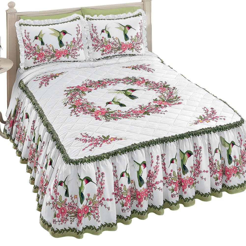 Hummingbirds & Floral Wreath Bedspread Multi King, King, ...