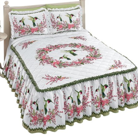 Quilt-top White Bedspread with Hummingbirds and Floral Design, Includes Ruffled Skirt, Queen,